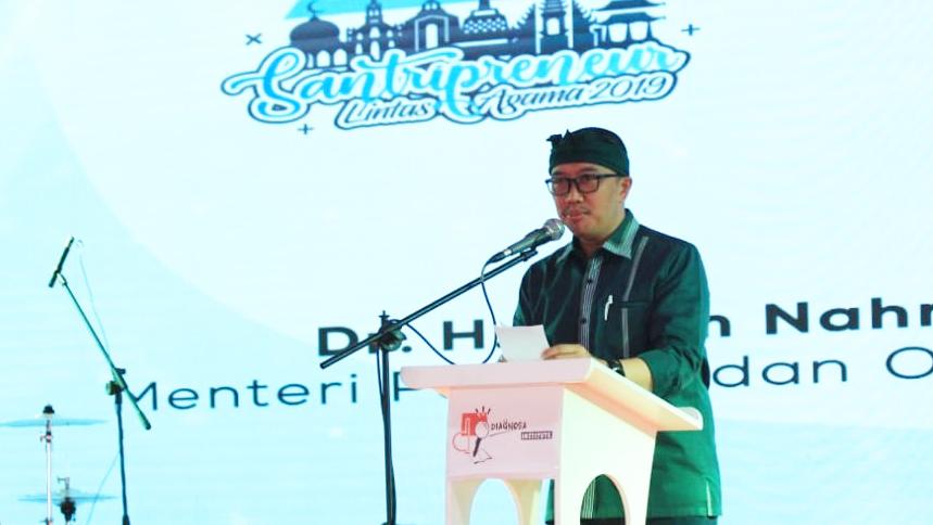Imam Nahrowi, Menteri Pemuda dan Olahraga memberikan sambutan, Kamis (22/8/2019)